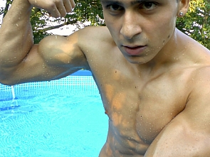 Flexing - Posing in the pool